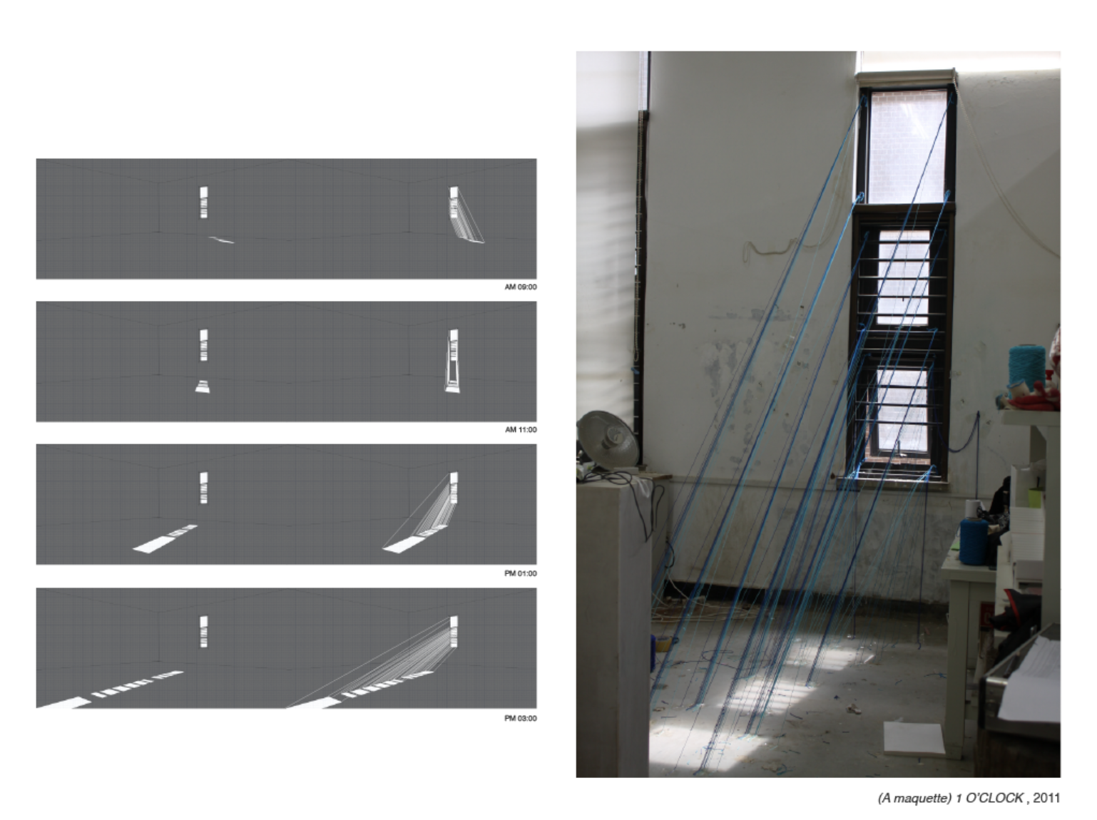 (Left) This is a record of lights which came through the window in different time zones (Right) I started to specify appearances of lights through strings at 1 p.m. when the sunlight was the strongest of the day. This allowed lights which were not seen to become material objects.
