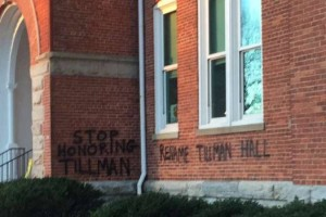 Graffiti on Tillman Hall at Clemson