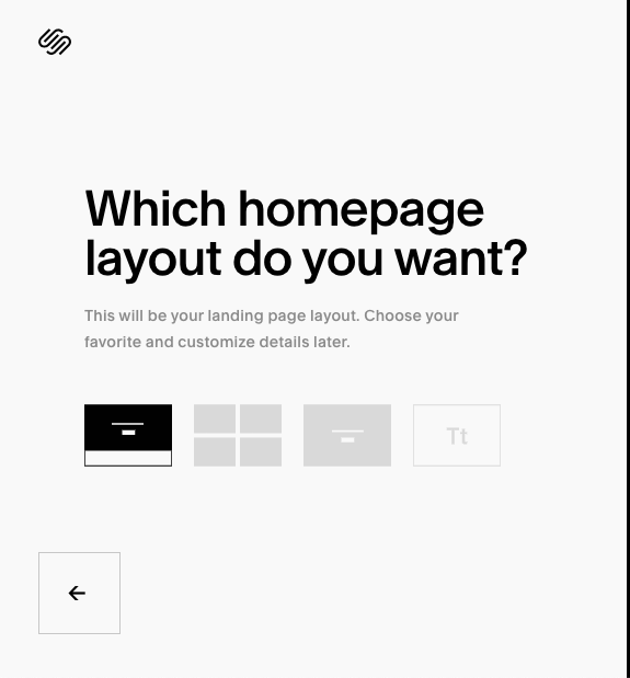 pick your Squarespace homepage