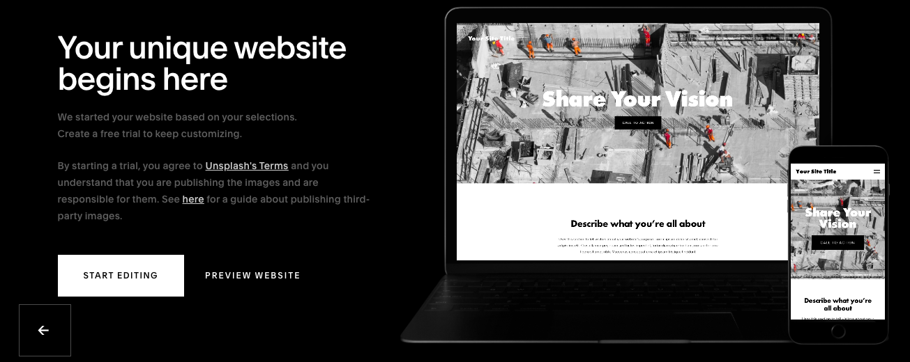 Start Editing your new Squarespace site!