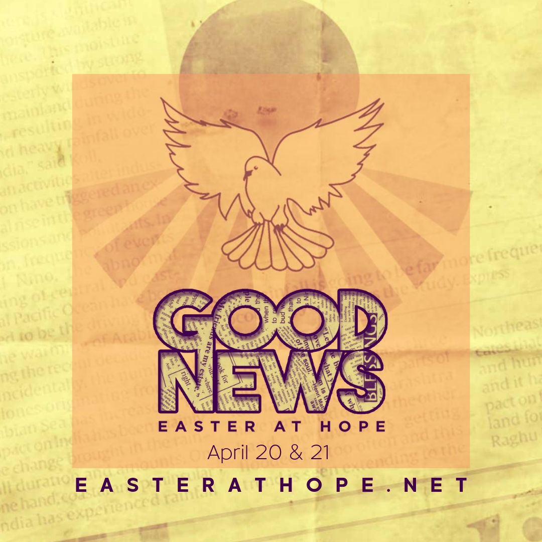 I don't know about you, but I could use some good news! This Easter, I would love to have you sit with me at my church, Hope Fellowship. Let me know if you want to join me April 20 or 21! #easterathope