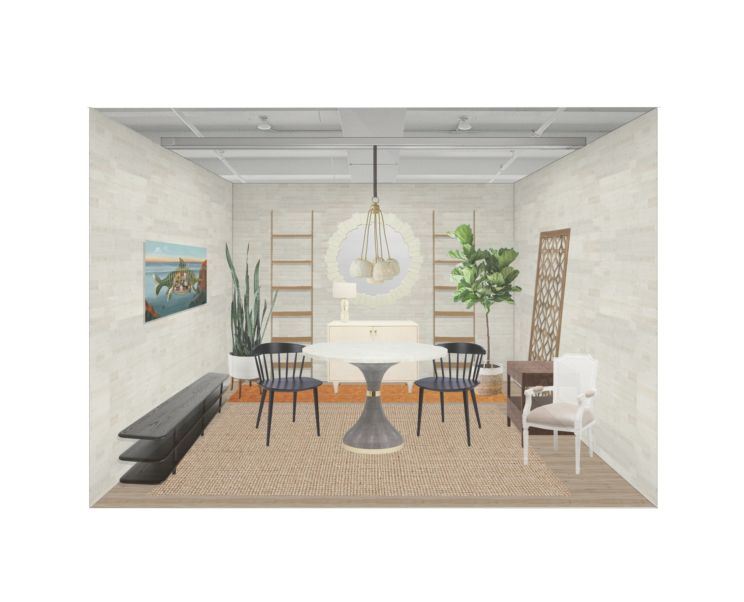 Early Rendering of the Lorla Studio Design on a Dime Room, 2018