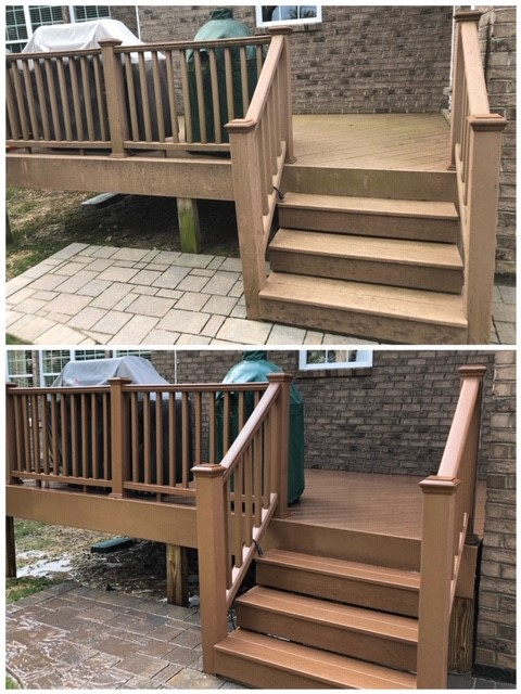 Soft washing trex deck in Raleigh, NC