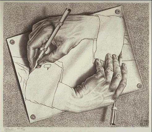 drawing hands by M. C. Escher