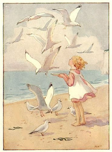 Illustration of the Beach and Seagulls by Margaret W. Tarrant
