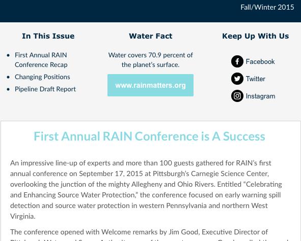 RAIN Newsletter Fall/Winter 2015