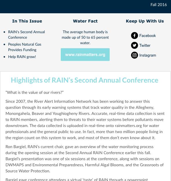 RAIN Newsletter Fall 2016