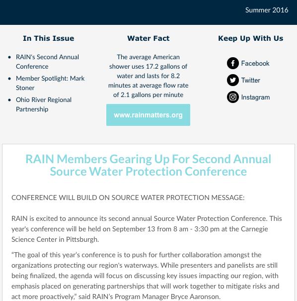 RAIN Newsletter Summer 2016