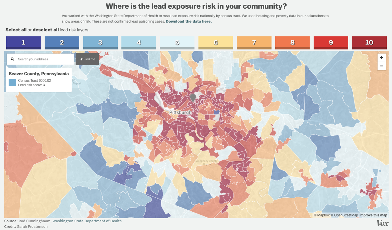 An estimate of the lead exposure in Pittsburgh and surrounding areas. Photo from Vox.com.