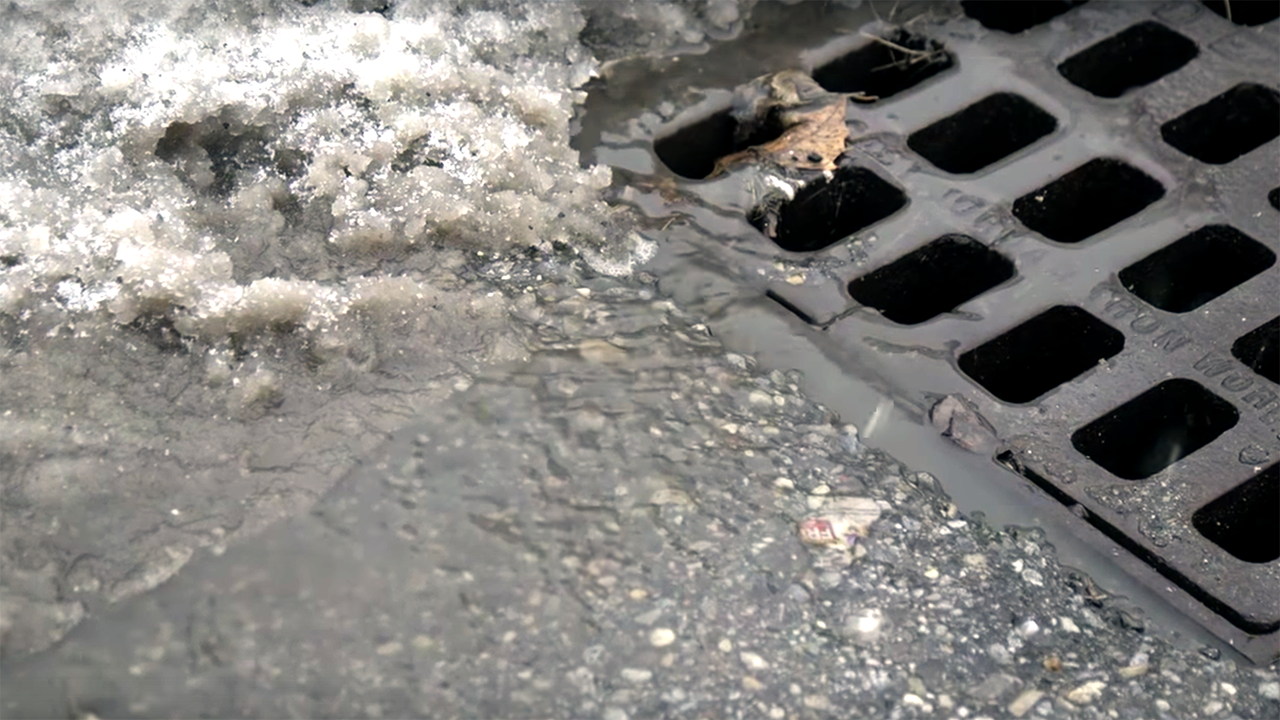 Road salt makes its way into the storm drains. Photo by Great Lakes Now.