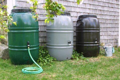 Rain barrels outside a home. Photo by RI Water Lady .