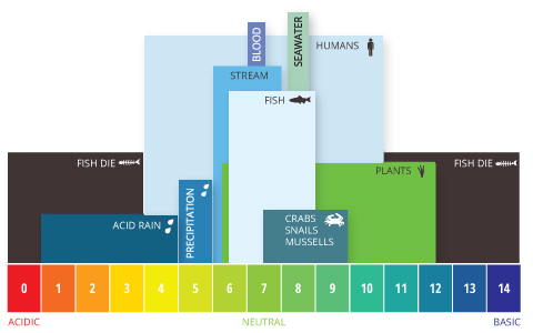 A representation of the sensitivity of pH on organisms. Photo by Fondriest Environmental,Inc.