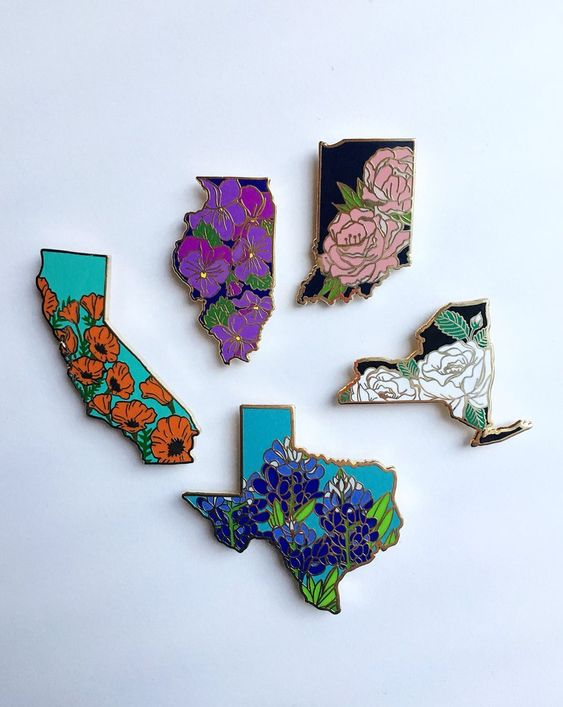 Shop these  United States in Flowers pins  by Lil Boat Boutique