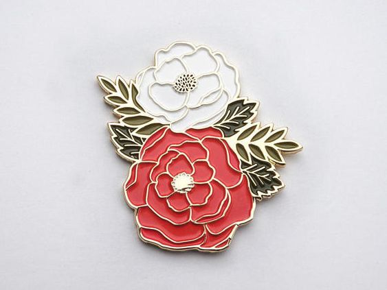 Shop  this Peony floral pin  by PaperAnchorCo