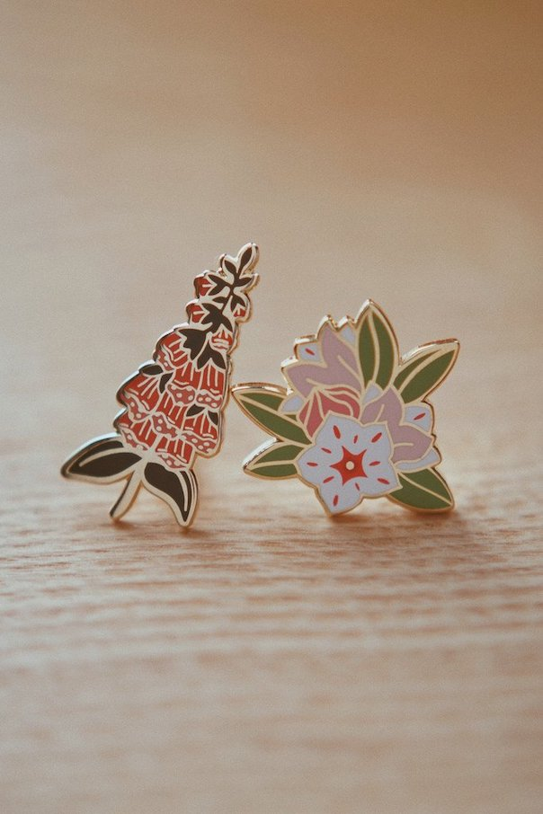 Shop this  Foxglove and Laurel pin set  by Justine Gilbuena