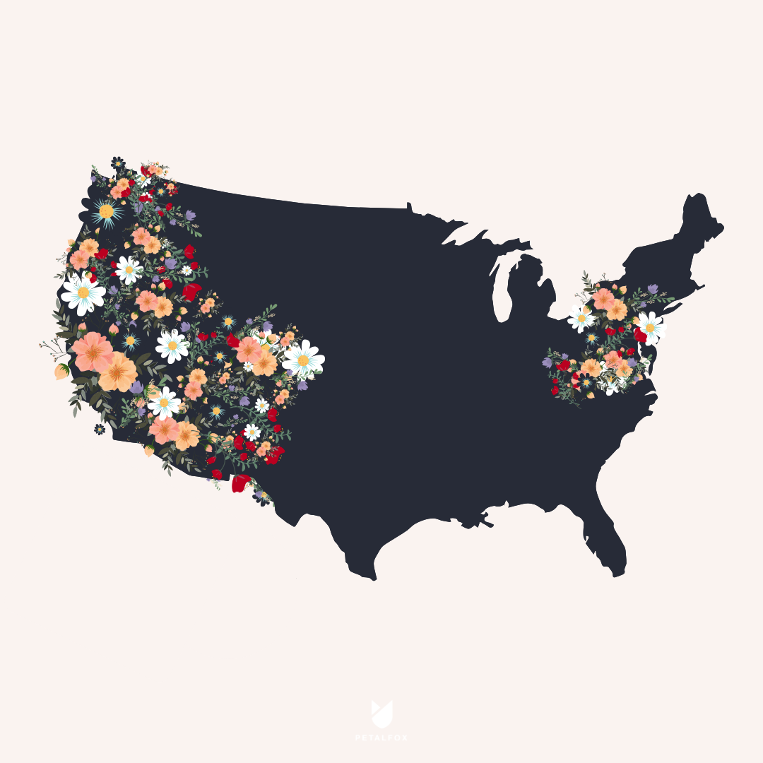 Places we petal - Petalfox ships to both the East & West Coast including Arizona, California, Colorado, Delaware, Idaho, Maryland, Nevada, New Jersey, New Mexico, New York, Oregon, Pennsylvania, Utah, Virginia, Washington and Washington DC. 🙌Flower varieties are chosen based on freshness, seasonal availability and may vary by week.Petalfox is coming to your city this year! Sign up here to find out when.