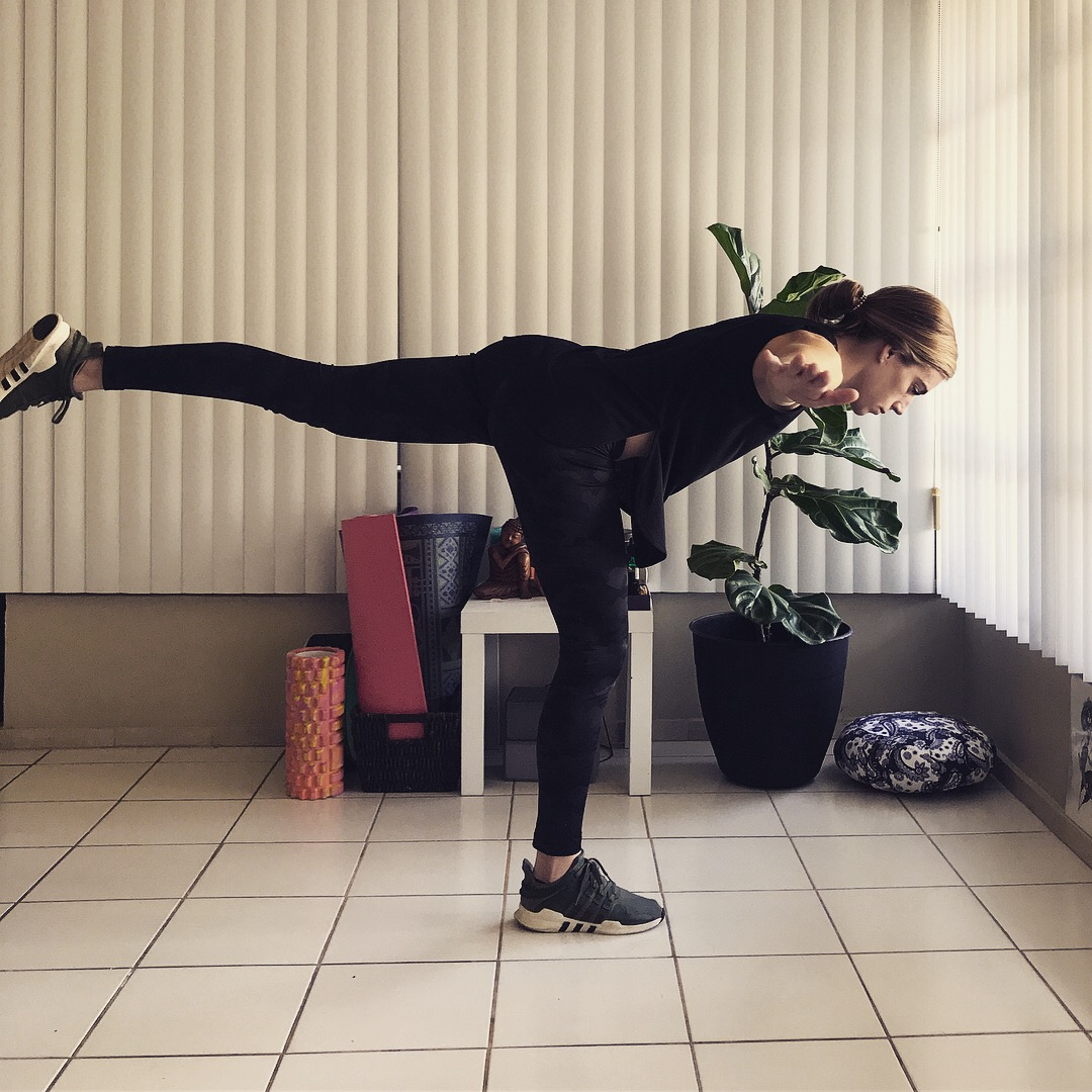 Airplane - no weight, arms out to help balance.