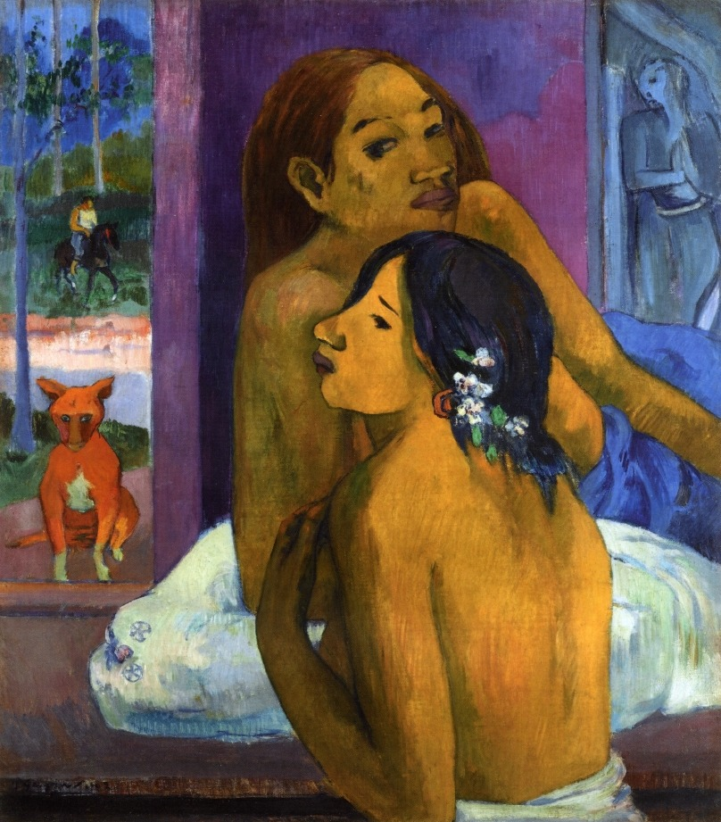 Raconteur  Sculpter  OF  Lilly and wine.   S.i.n.g.ing  Tensely modern  Songs, carved out of  sun lite       morning  And speckled lawns   Paul Gauguin   Two women (Flowered hair) 1902, Oil on Canvas  Private Collection