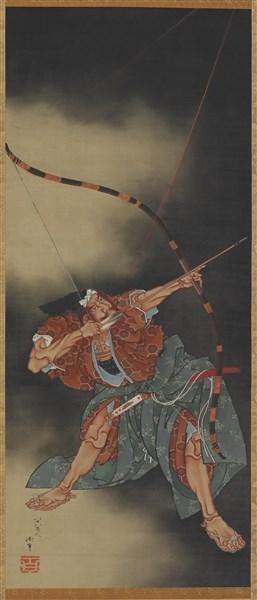Hokasi cuts    So fine,  A warriors blade is line.   Katsushika Hokusai   Minamoto No Yorimasa Aiming an Arrow, 1847-9 Hanging Scroll, Ink and Color on Silk Metropolitan Museum of Art