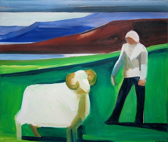 Like graphology (the study of hand writing) the surface of Matthiasdottir's paintings are engorged with meaning and revelation. Her surface and brush work are character and color combined, along with many other things of course.   Louisa Matthiasdottir  Girl with Sheep, 1982 Menconi+Schoelkopf Fine Art