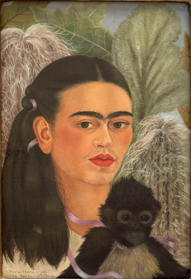 The painting looks at you, Even the fruit looks At you,  and They sing-  RRRight thru you.....  love and sex howling into your  guts. Raw beauty exposed, there, here, everywhere !  Zero compromise — supernatural conviction of the simplest kind.   Frida Kahlo   Fulang-Chang and I, 1937 MOMA