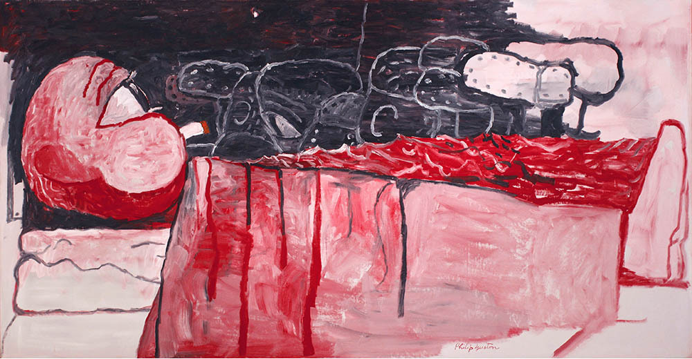 Red blood man ;  smoke in hand ,  artist dream  of a poets land.   Philip Guston  Waking Up, 1975 David MacKee Gallery