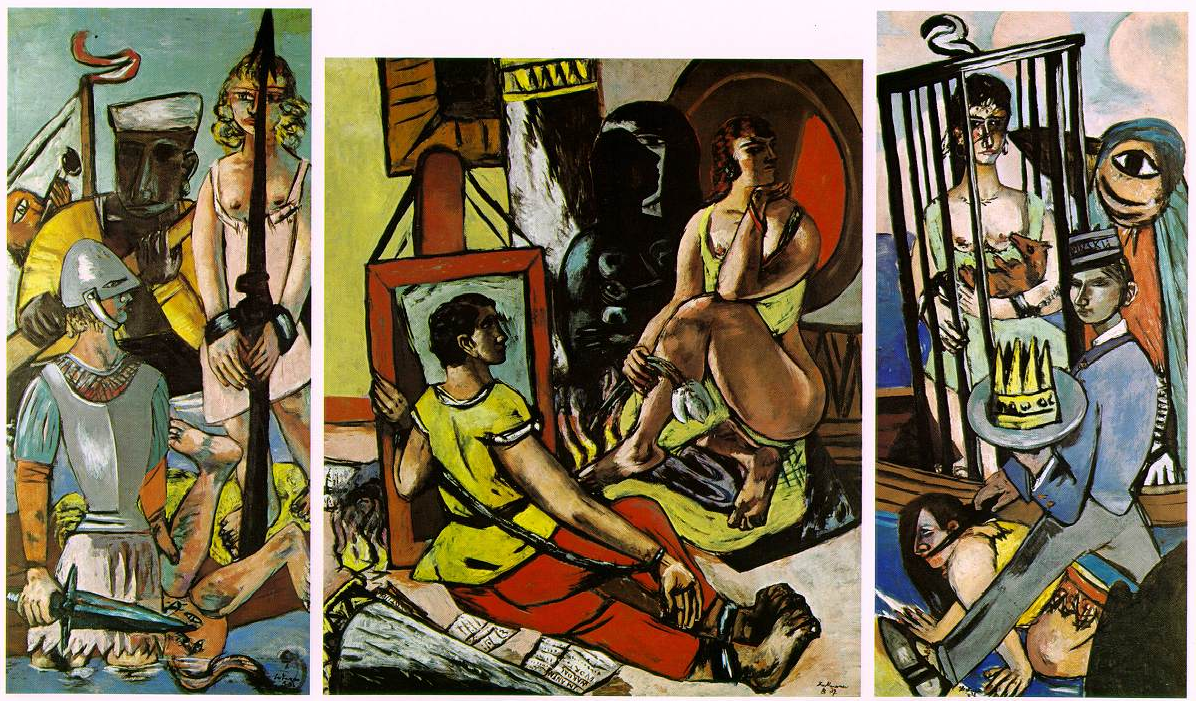 When you walk by a Max Beckmann painting you can almost hear the primal thump of the drums beating out the rhythm, the story unfolding in an accordion of colors; a symphony of drawing.    Max Beckmann  Triptych of the Temptation of St. Anthony, 1936-1937 Oil on Canvas, Triptych, Center Panel 78 ¾ X 67 in, Side Panels Each 85 X 39 3/8 in Bayerische Staatsgemaldesammlungen