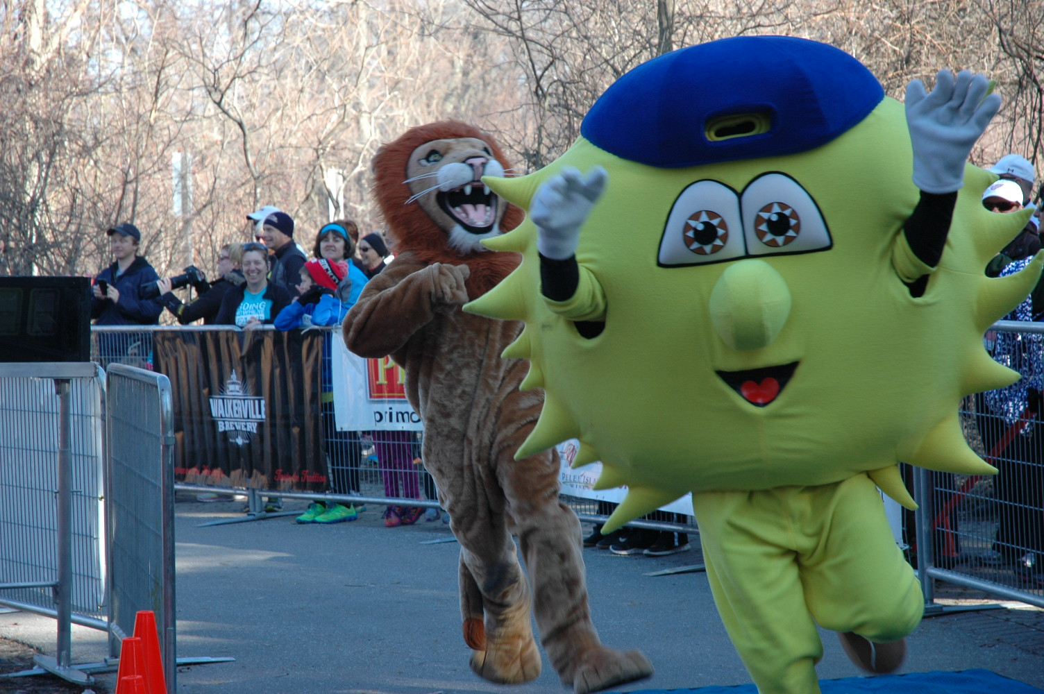 Mascots from the 2017 Mascot Race make for the finish line.