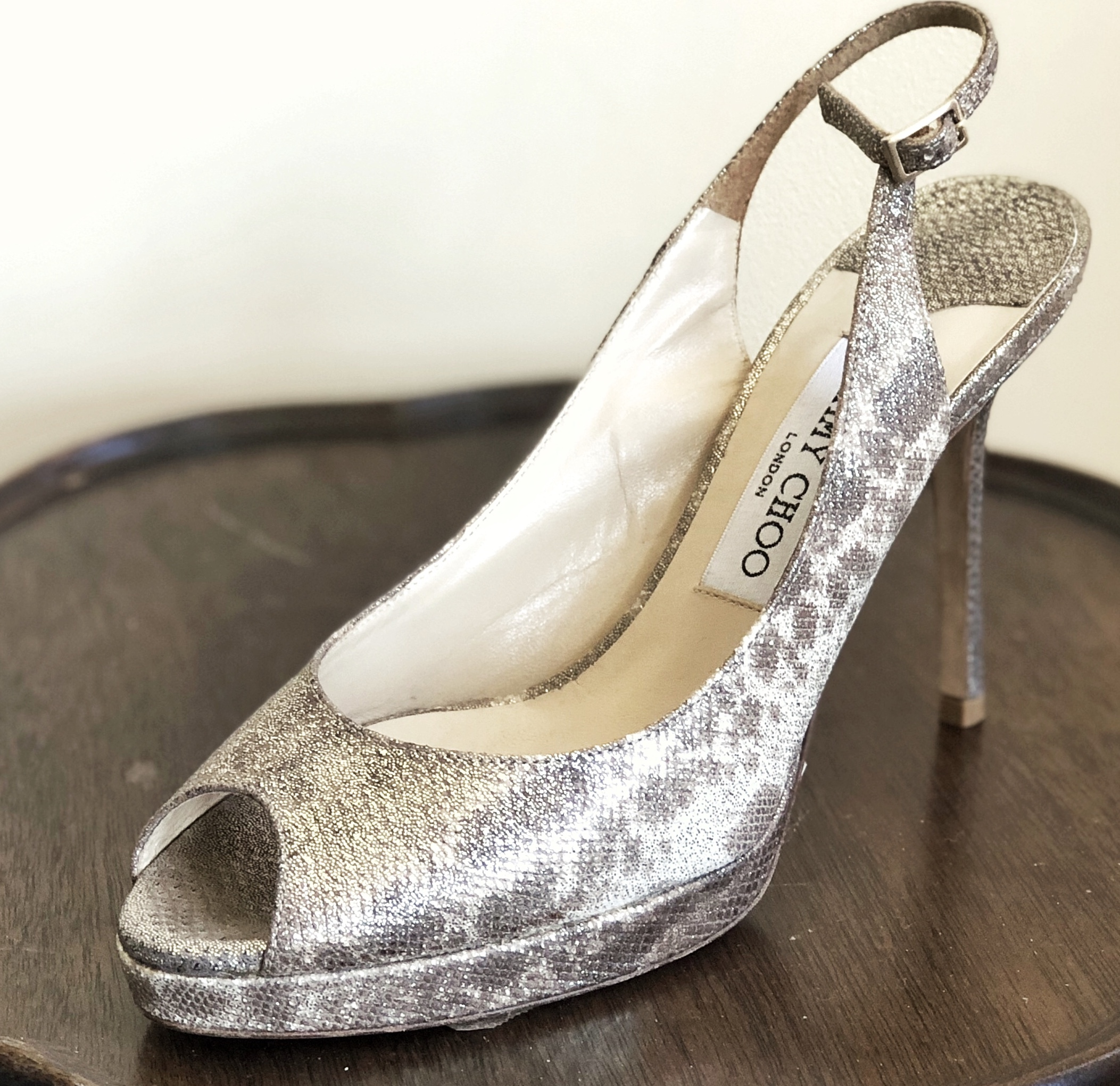 Gorgeous silver high heeled Jimmy Choo shoes. So comfortable and stylish - plus an easy and affordable way to have a designer piece in your wardrobe!