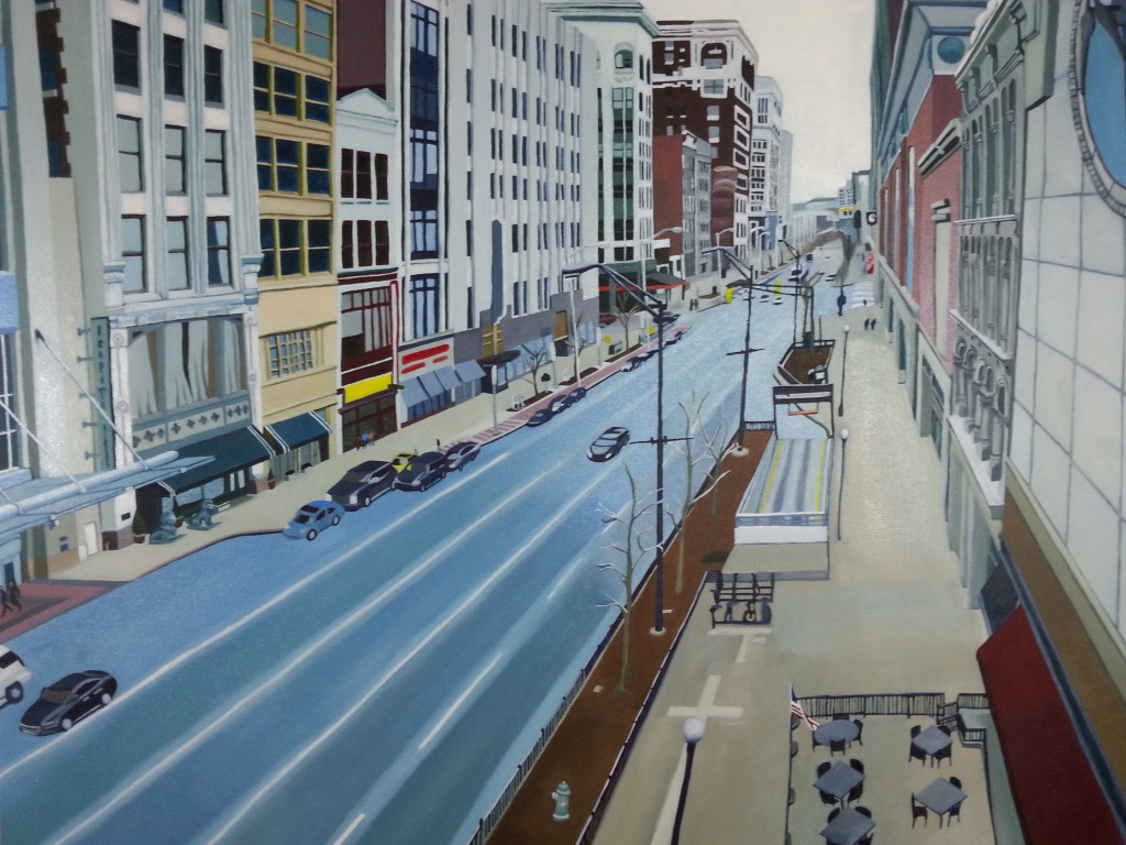 30 x 40, oil on canvas. Downtown Indy Washington St. Looking East from the art Garden 2015