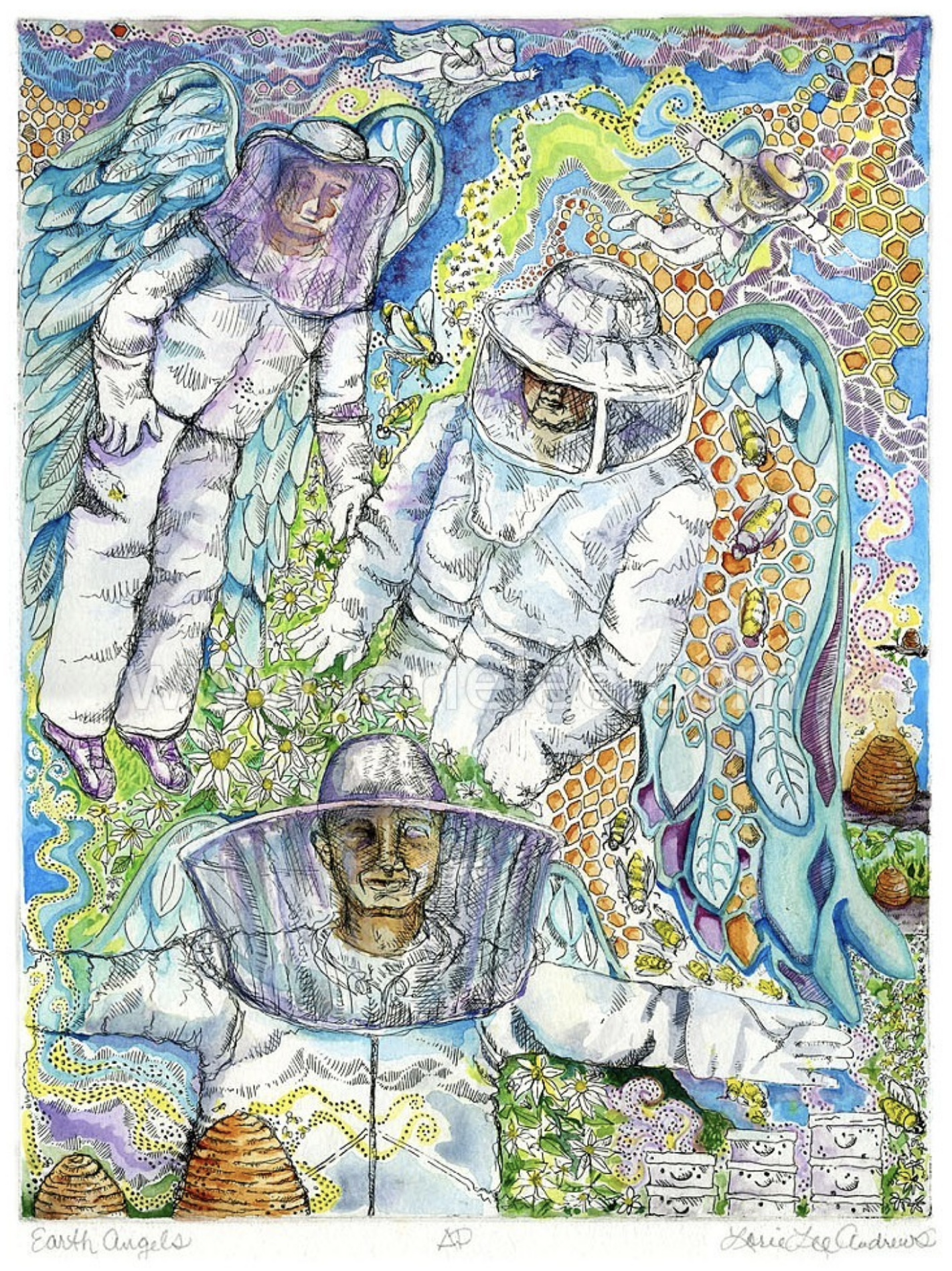 Earth Angels, Lorie Lee Andrews, 2014, hand colored copper plate etching