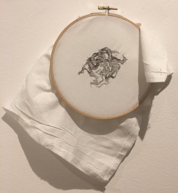 Tangle I, hair on pillowcase