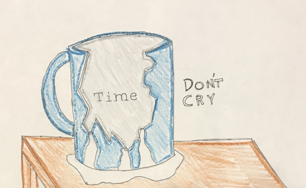 """Illustration, """"Steamed Milk,"""" by Harrison Center intern Leo Burton that was inspired by """"Back to Back."""""""