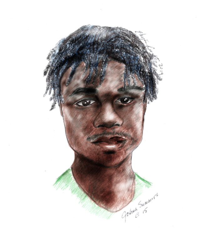 A portrait of Josh by local artist Eleyes Reeves.