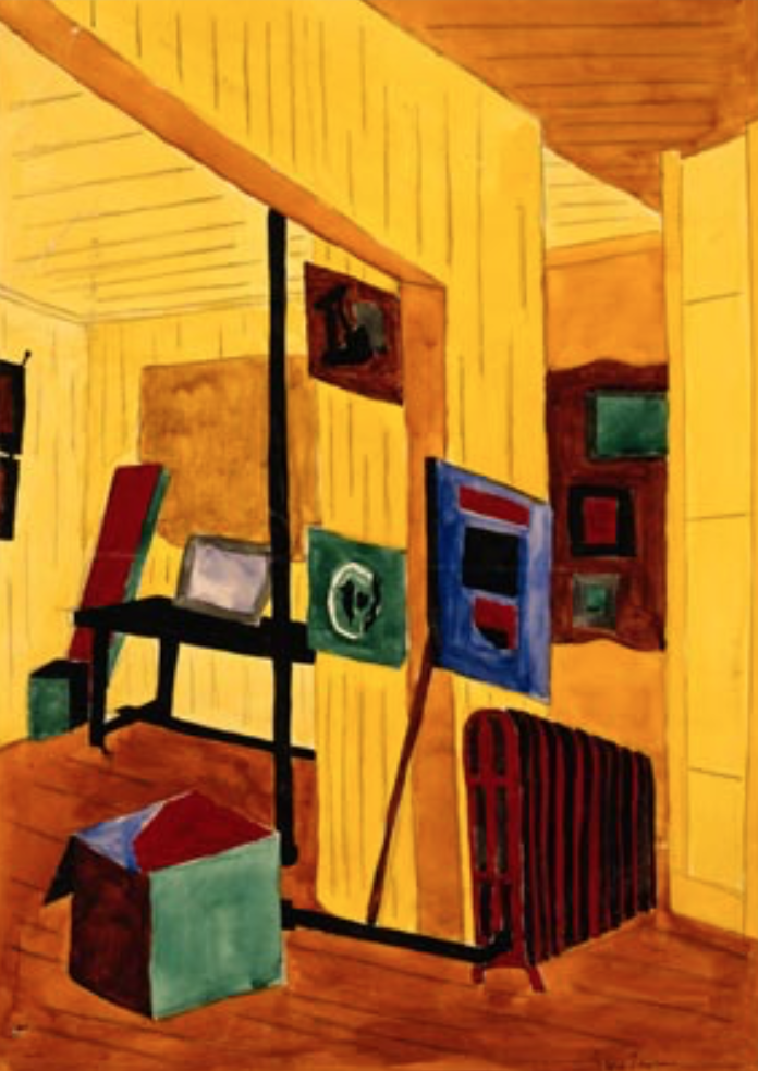 Studio Corner  by Jacob Lawrence (1936), a painting that served as inspiration for the portrait