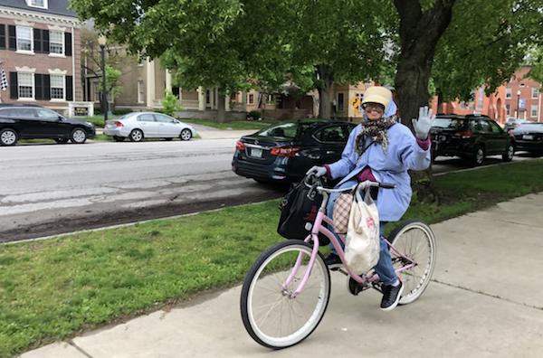 Miss Eleyes on her iconic bike