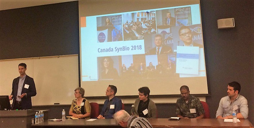 """Dr. Jordan Thomson (Ontario Genomics) moderated the panel on the """"Current and Future State of Synthetic Biology in Canada"""". From left to right: Dr. Kathleen Hill, Dr. Mark Daley, Dr. Rebecca Shapiro, Dr. Trevor Charles, Dr. Brendan Hussey.  Image courtesy of  Western SynBio Symposium ."""
