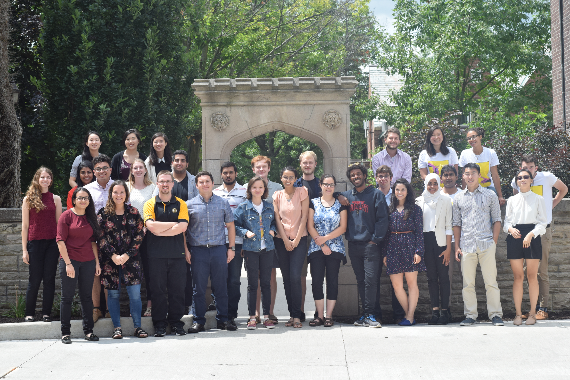 "Members of the McMaster, Toronto, Queens, Western, Guelph, Ottawa, Waterloo and Brock iGEM teams, who attended the Ontario ""oGEM"" conference at McMaster University, July 28 2018."