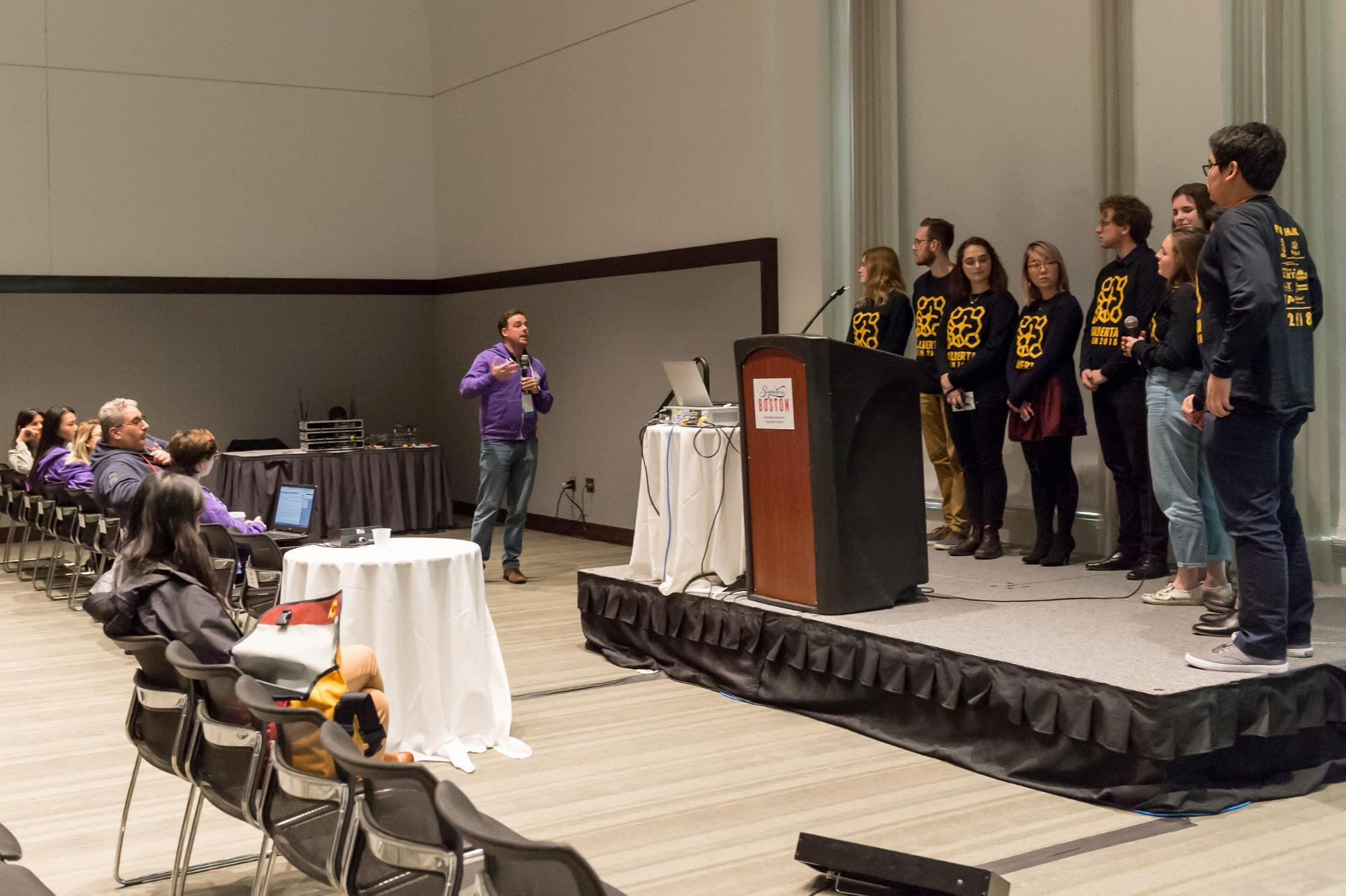 University of Alberta's iGEM team nervously listening to a judge's question. Photo: iGEM Foundation, Justin Knight