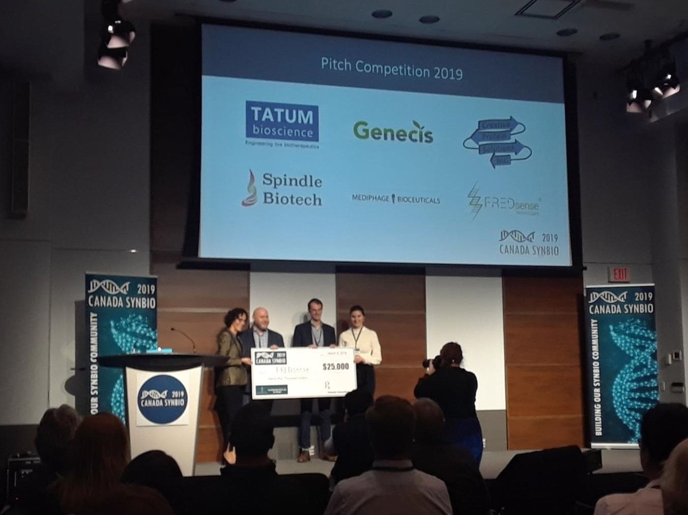 FREDsense won first place in the pitch competition, with a cash prize of $25000 and $5000 worth of supplies from IDT.  (Photo by Nathan Braniff)
