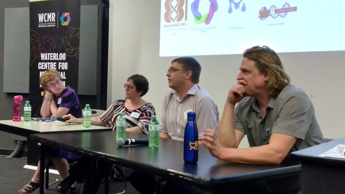 The education panel from SynBio 4.0, featuring (left to right) Kathleen Hill, Orly Weinberg, Jason Grove and Mads Kaern. Photo courtesy of    Brian Ingalls   .