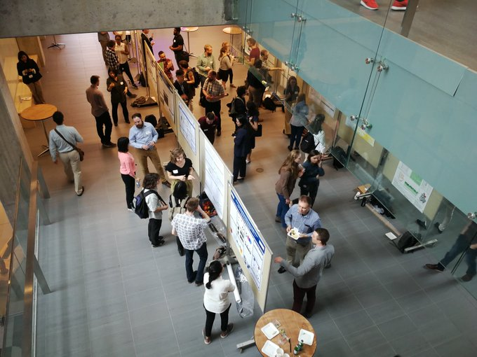 The SynBio 4.0 poster session featured a diverse range of synbio research from Canadian institutions. Photo courtesy of    @Synbiosymp    and    WCMR  .