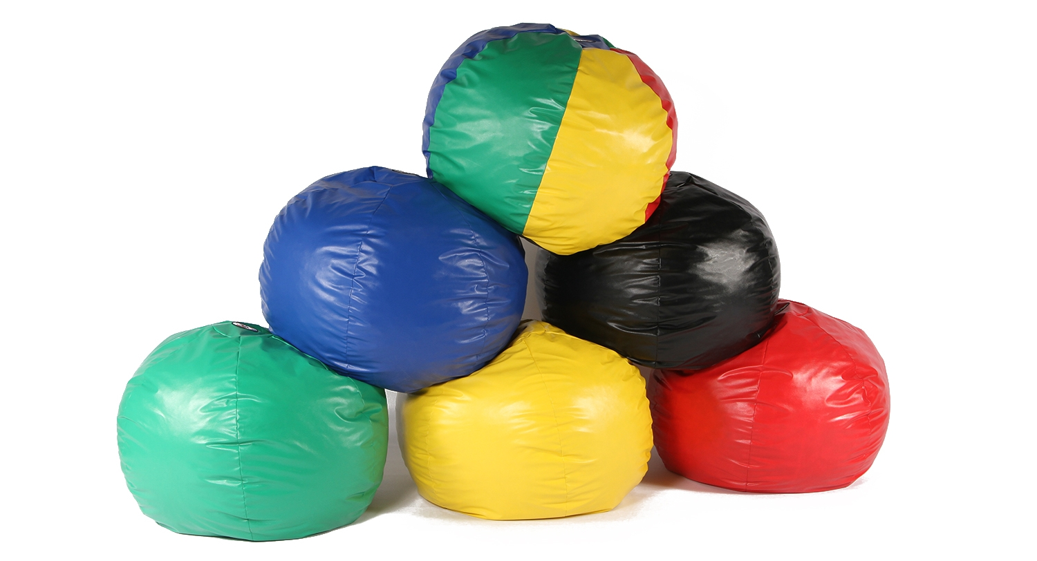 Foamnasium Wacky Sacks - shredded foam bean bag chairs, available in two sizes and a variety of colors.