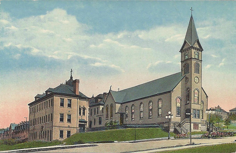 The original wooden St. Michael's church