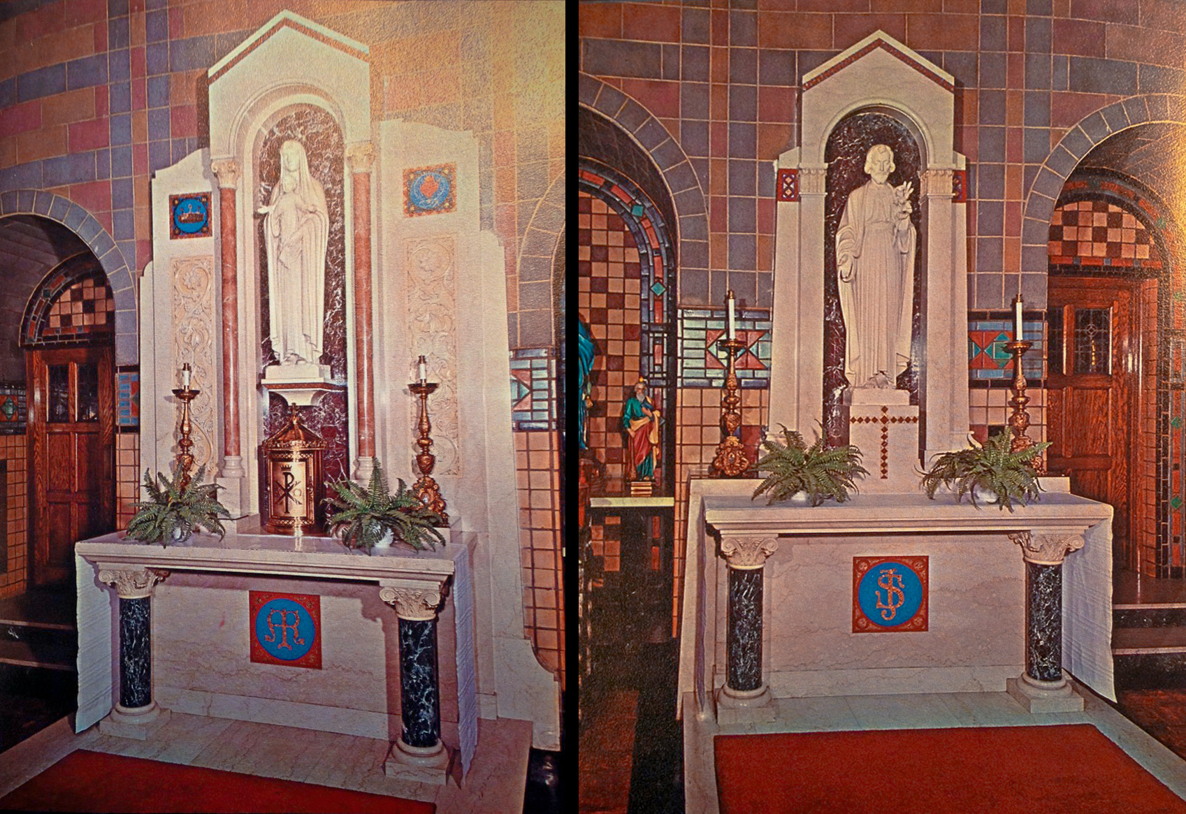 The original side altars we wood, but were thrown away to make space for the updated marble altars in the 50s