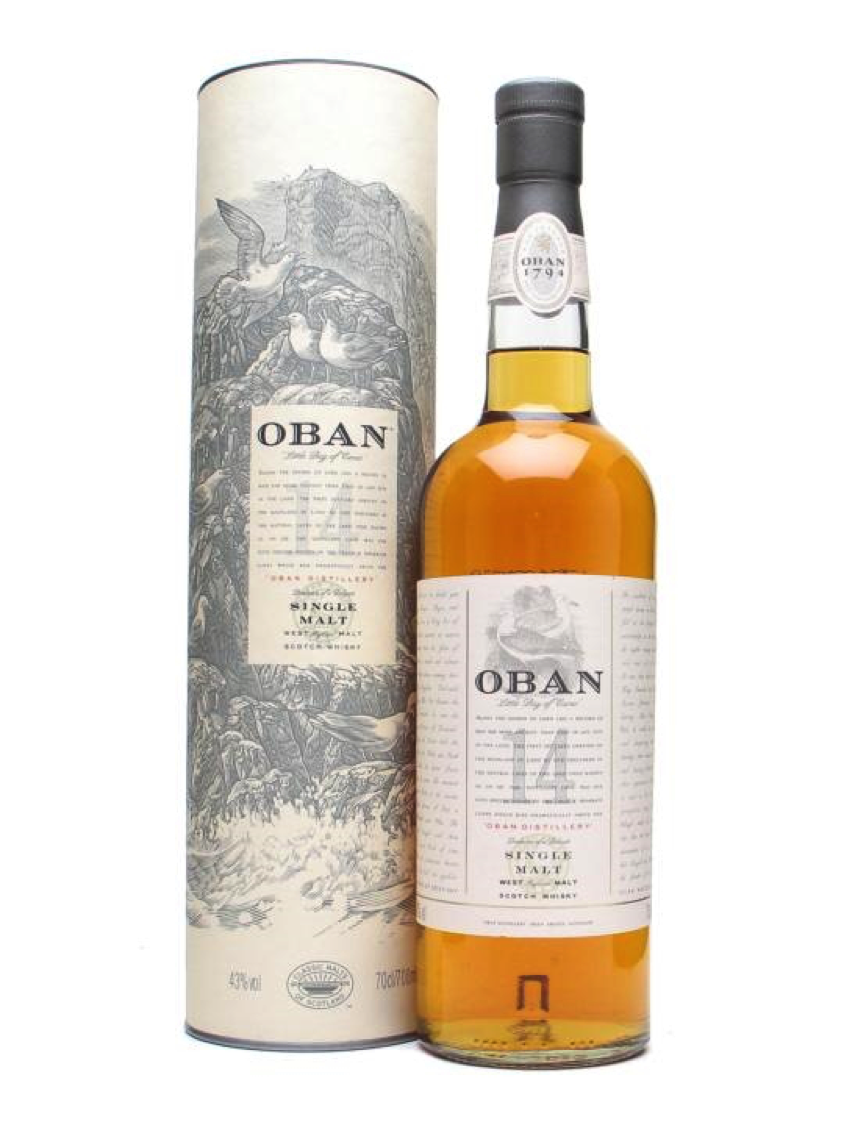 "Oban 14 - 5. Oban 14 – Average Price: $65 The Oban.  Everyone's reliable ""go to"" dram. It has everything you want in a whisky, a welcoming flavor profile, it has a little smoke, it has body, it has balance; we have yet to meet someone who doesn't like Oban 14. When you drink this whisky you immediately get sweetness and a very balanced tasting of the sweet caramel fruits, paired with an almost peppery smoke. Oban is also one of the oldest distilleries in Scotland so you are guaranteed to be drinking one with a profound history."