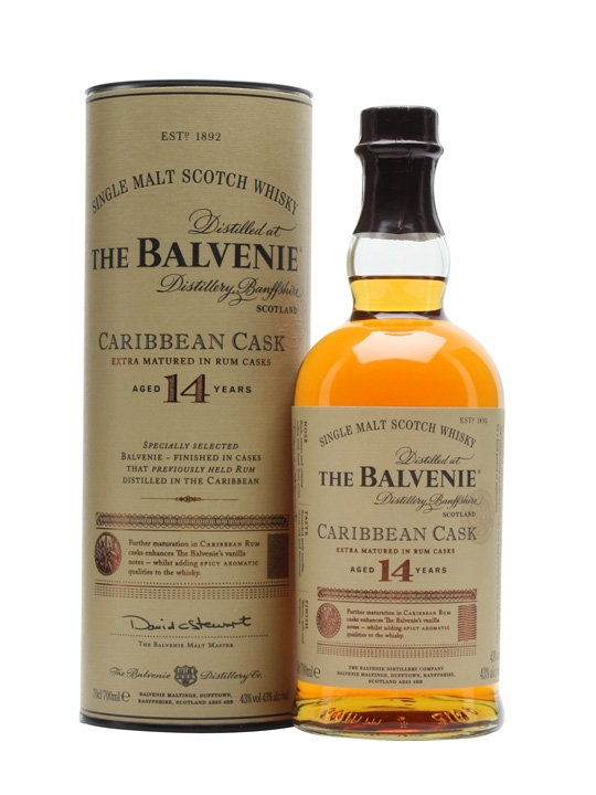 Balvenie 14 Caribbean Cask - 9. Balvenie 14 – Average Price: $75 You'll be hard pressed to find someone who doesn't enjoy a dram from Balvenie.  All of their whiskies are carry a distinct character and easy drinkability. The 14 year Caribbean cask is such a fun whisky. After its time in oak it's transferred to Caribbean rum casks that impart a playful sweetness that is addicting. One sip of this whisky, and you'll be a Balvenie fan for life.