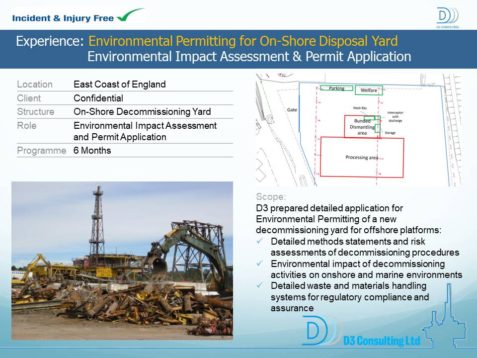 Environmental Permitting for On-Shore Disposal Yard Environmental Impact Assessment and Permit Application