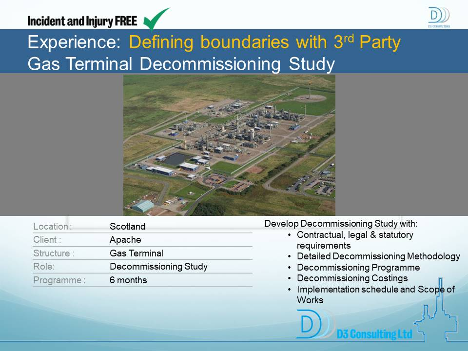 Defining Boundaries With 3rd Party Gas Terminal Decommissioning Study