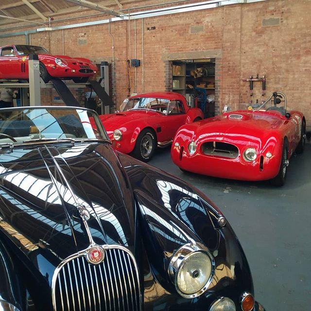 #jaguar #cobra some obscure Allard and a few million quid's worth of #ferrari #gto in the workshop #sundayscramble